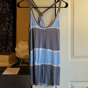 Grey and blue racerback tank